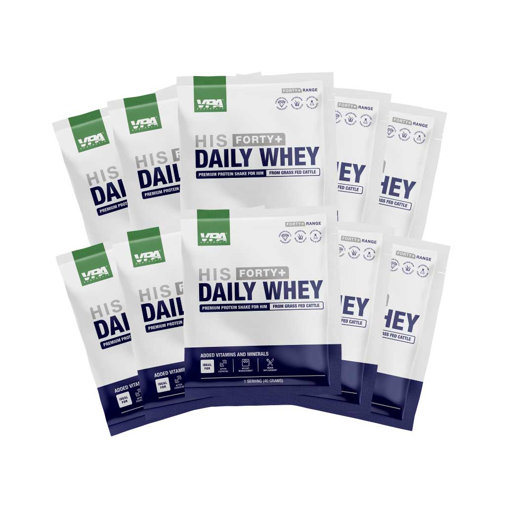vpa forty plus - mens his daily whey sample pack - 2 flavours and 10 sample sachet