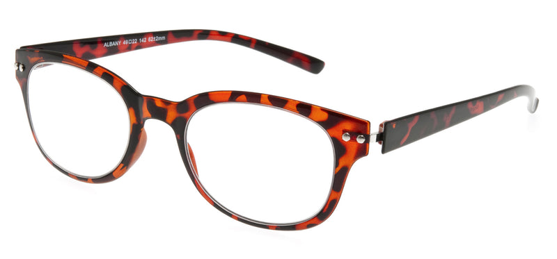 Round retro style glasses with a gloss brown mottled pattern.