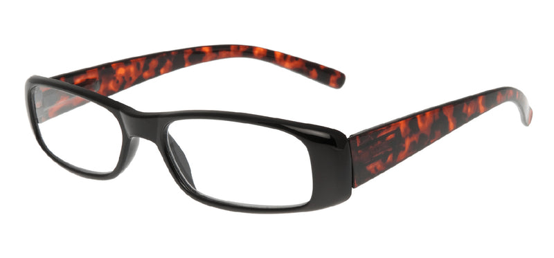 Rectangular glasses. Black frames with dark brown mottle temples.