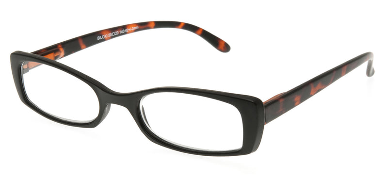 Rectangular glasses. Matt black frames with matt mottle brown temples.