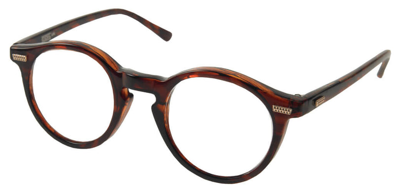 Round magnifying spectacles with the appearance of normal glasses. Brown mottled frames with small studded metal details on the temples and at the edges of the frames.