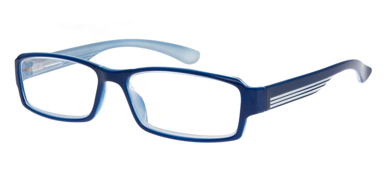 Rectangular glasses. Gloss blue frames with white stripes on the temples.