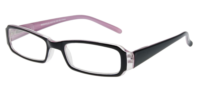 Rectangular glasses. Black gloss frame with a Lilac inner surface.