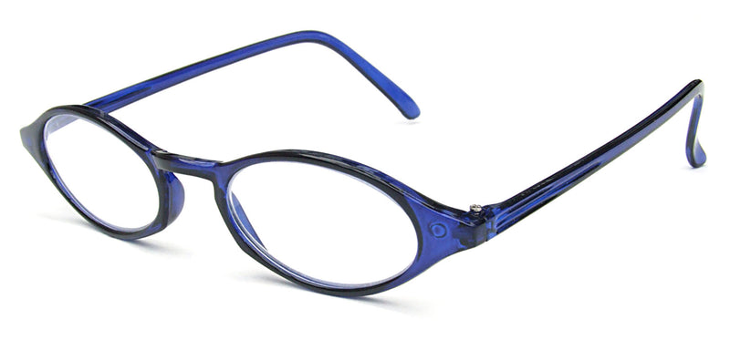 Oval glasses. Vibrant cobalt blue frames.