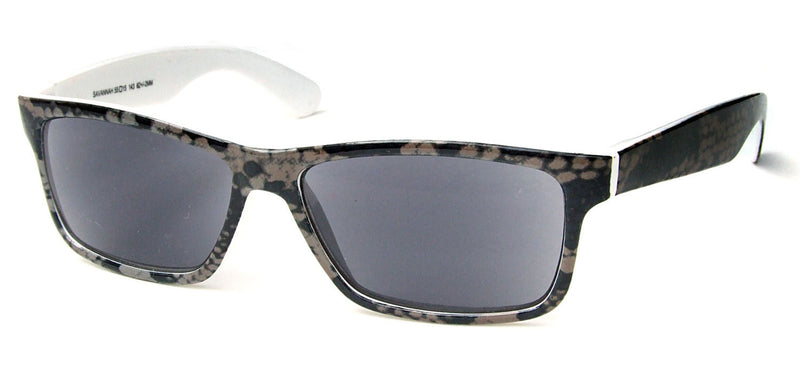 Rectangular sunglasses with grey lenses. The frames have a grey snakeskin pattern with white inner surfaces