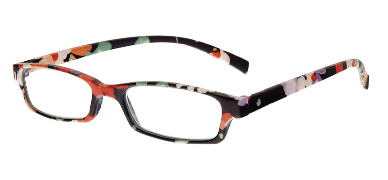 Square glasses. Frames have a matt colourful floral pattern.