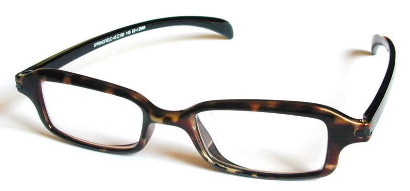 Rectangular glasses. Brown mottle frames with black temples.
