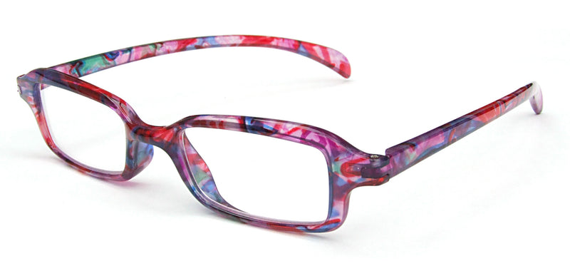 Rectangular glasses. Frames have a colourful marbled pattern.