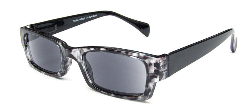 Rectangular sunglasses with grey lenses. Translucent grey patterned frames with solid black temples.