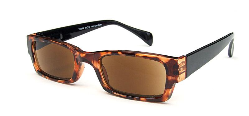 Rectangular sunglasses with brown lenses. Translucent brown mottle frames with solid black temples.
