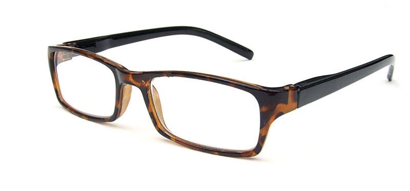 Square glasses. Dark brown mottle frames and black temples.
