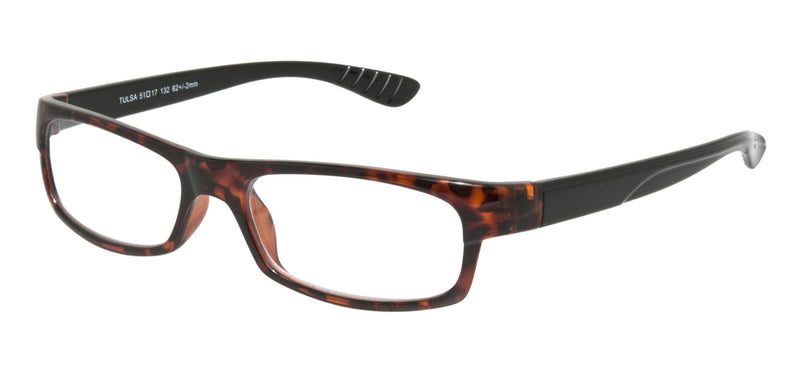 Rectangular glasses. Dark brown mottle frames with black temples
