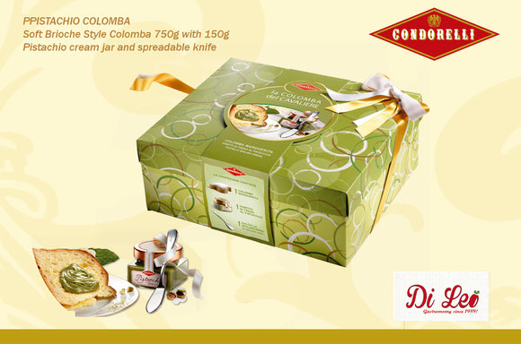 Condorell Colomba 750g with Pistachio Cream jar 150g and Spreadable knife