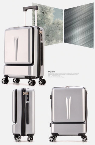 Carry on Luggage Hand Shell Compact Silver Visual