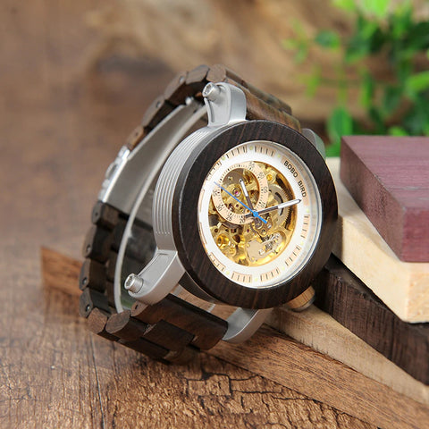 Classy Wood Watch Mechanic Senior Brown Mockup View