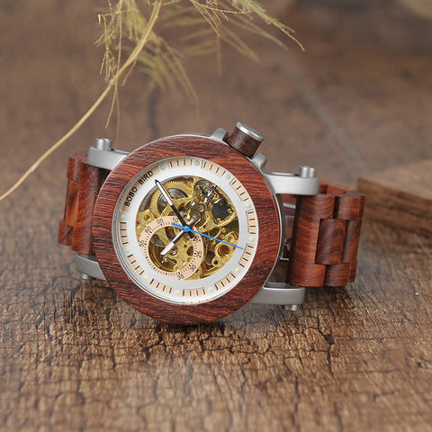 Classy Wood Watch Mechanic Senior Front Mockup