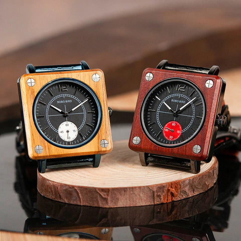 Classy Wood Watch Square Chronograph Light Dark Presentation