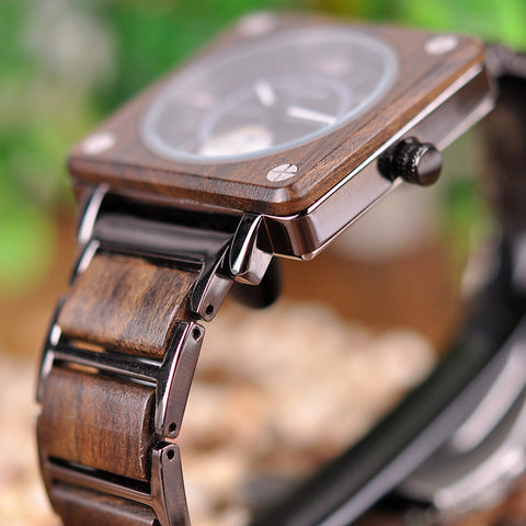 Classy Wood Watch Square Chronograph Blur Brown View