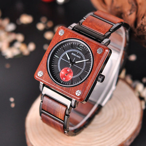 Classy Wood Watch Square Chronograph Red Upper View