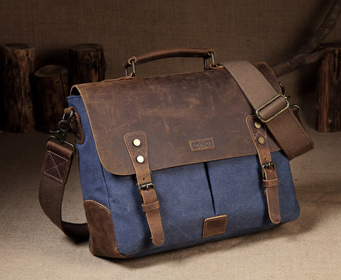 Messenger Bag Leather Elegant Professor Blue Scene