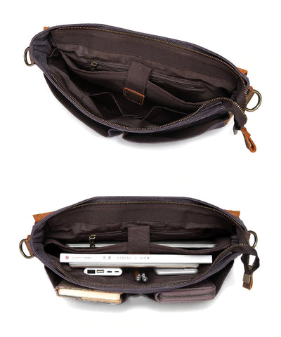 Messenger Bag Leather Elegant Professor Inner View