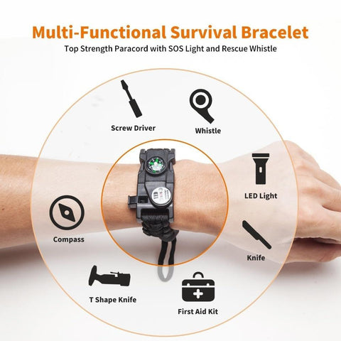 Multifunctional Compass Flashlight Bracelet Multi Functions