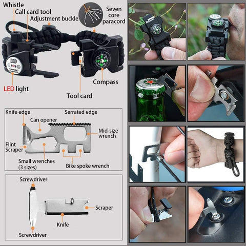 Multifunctional Compass Flashlight Bracelet Multicard Demo