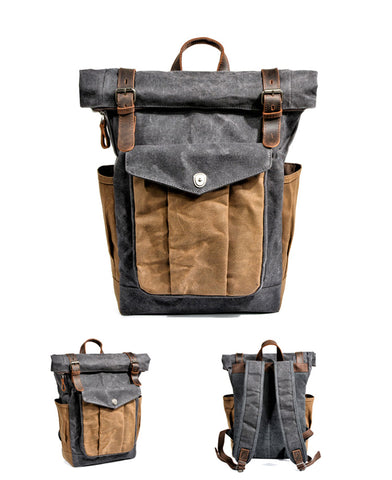 vintage backpack outdoor adventure leather photo