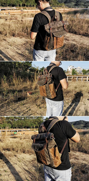 vintage backpack outdoor adventure leather three demo