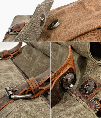 vintage backpack outdoor adventure leather details
