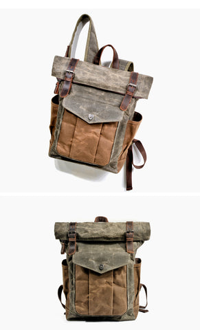vintage backpack outdoor adventure leather hanged