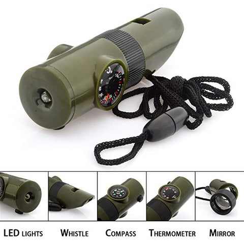 7 in 1 Multi function Outdoor Survival Whistle