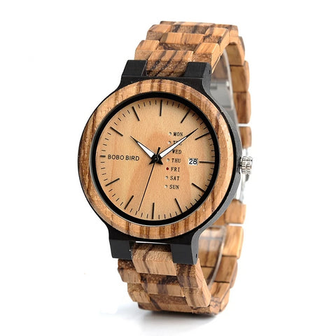 Casual Wood Watch | Date Display