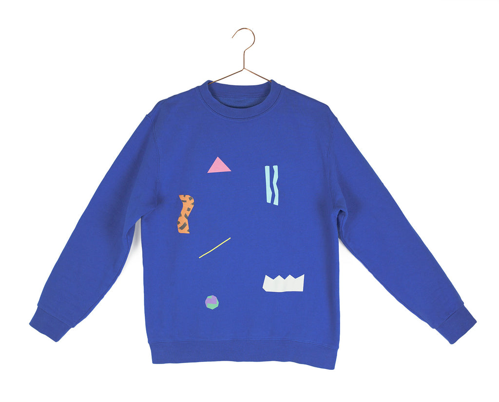 Collage print sweater - bright blue