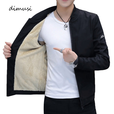DIMUSI Men's Bomber Zipper Jacket Winter Male Fleece Warm Coats Casual Streetwear Hip Hop Slim Fit Pilot Jackets Mens Clothing