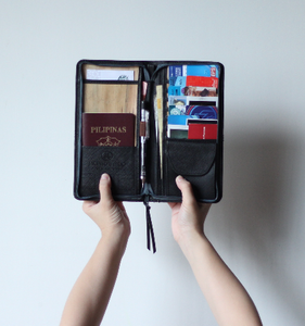 Bucket List Vegan Leather Travel Wallet in Black - Roots Collective PH
