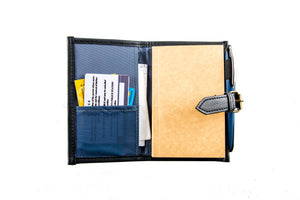 Pacem II Vegan Leather Buckled Notebook in Navy Blue (Mini) - Roots Collective PH