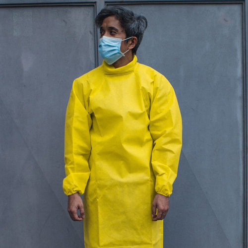 Gouache Disposable Non-Woven Neck-High Isolation Gown (Yellow) - Roots Collective PH