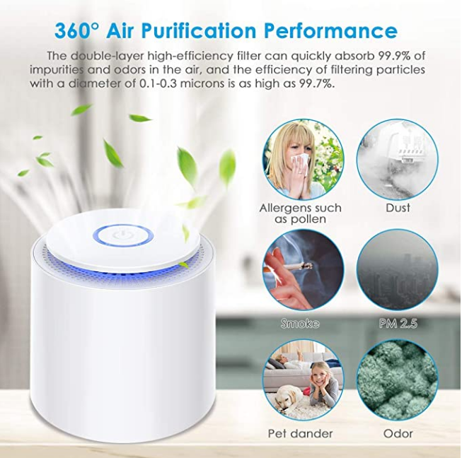 (45%OFF)Himylife™ Portable Air Purifier with HEPA Filter, USB Desktop Air Filter with Night Light and Aromatherapy Function