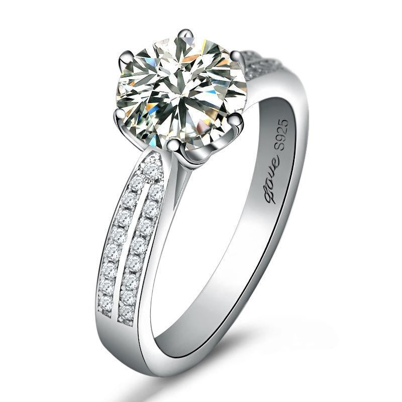 1CT Round Cut 6 Prong Double Row Stone Solitaire Ring - jewel-inside