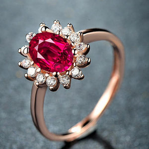 Red Sapphire Flower 925 Sterling Silver Ring - jewel-inside