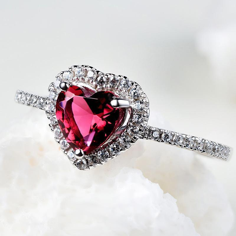 Red Heart Cut Halo Ring - jewel-inside