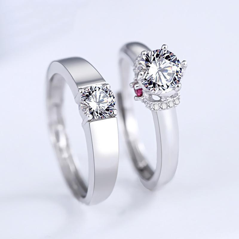 Classic Round Cut Couple Rings - jewel-inside