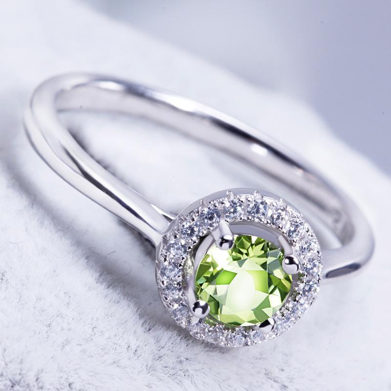 Green Stone Round Cut Halo Solitaire Ring - jewel-inside
