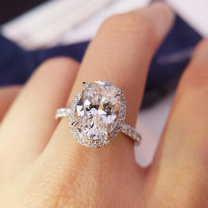 Oval Created White Sapphire Engagement Ring - jewel-inside