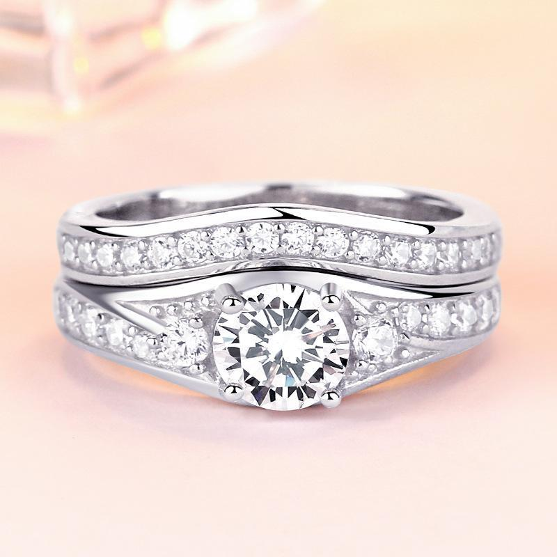 Three Stone Created White Sapphire 925 Sterling Silver Wedding Ring Set