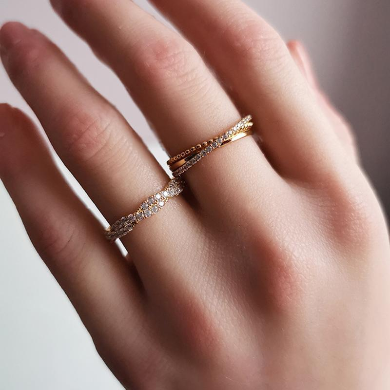Simple Intertwined Stacking Band - jewel-inside