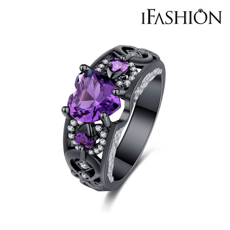 iFashion Black Gold Plated Hearts & Arrows Ring