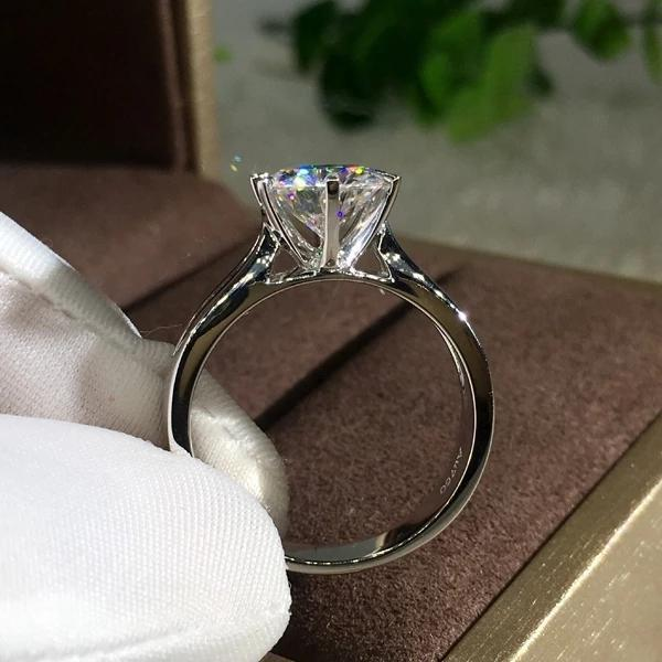 Classic Round Cut Silver Engagement Ring
