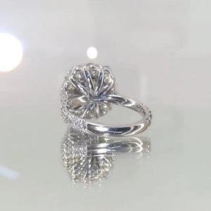 Jolics Flower Shape Handmade Cushion Cut 925 Sterling Silver Ring - jolics